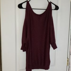 Express Sweaters - Purple sparkle cold shoulder sweater
